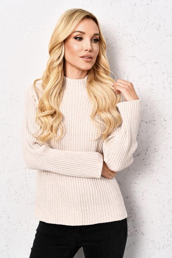 Sweter LIZ z półgolfem Beige